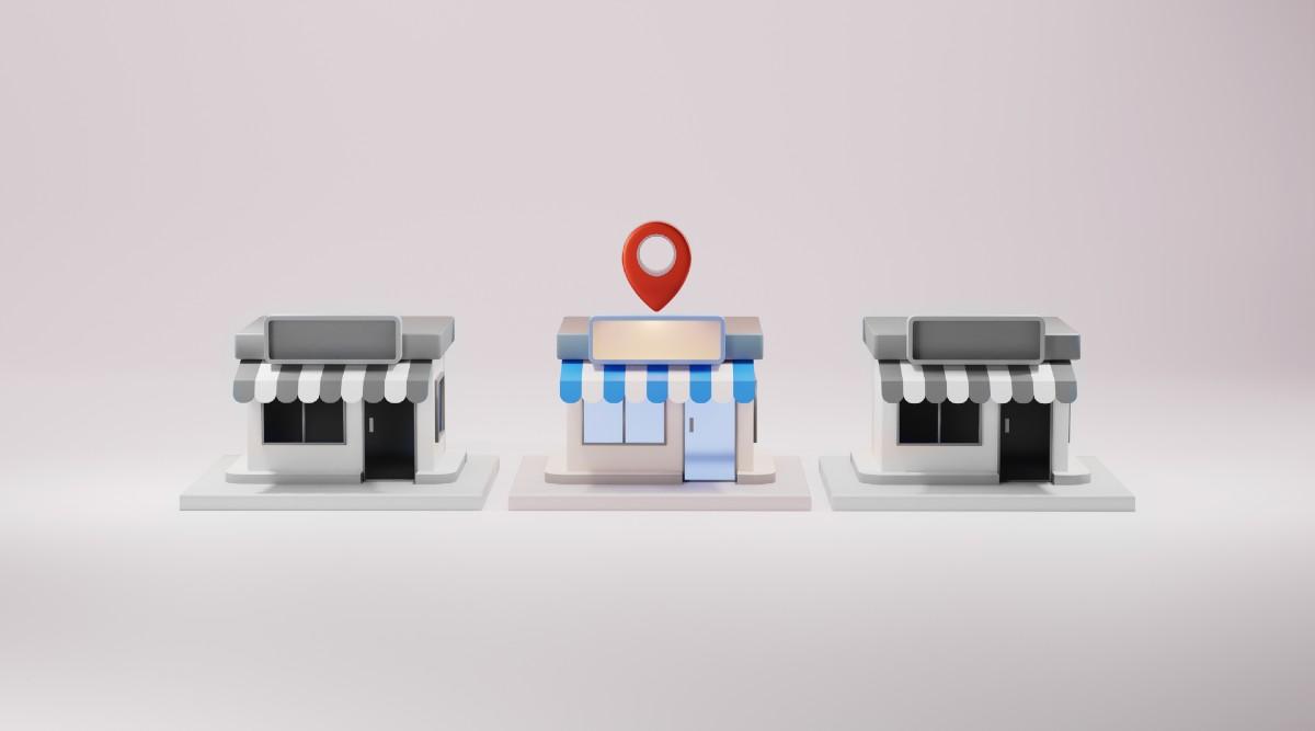 Rendering di tre negozi locali - rappresentazione local ecommerce - Web Agency Perugia The Brick House
