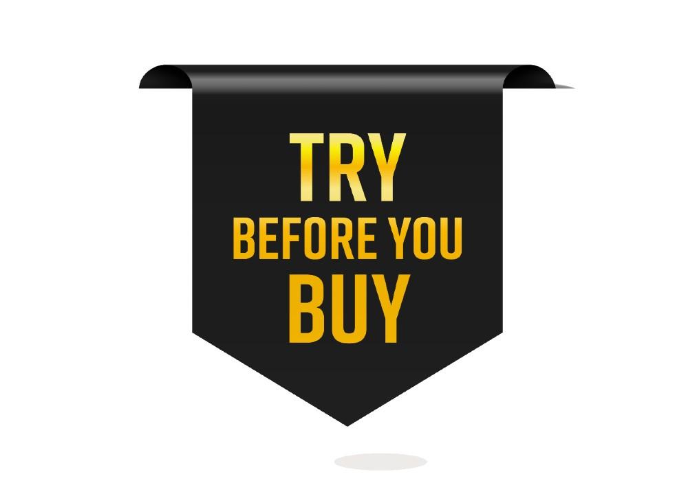"""Scritta su sfondo nero """"Try Before You Buy"""" - nuova strategia per gli ecommerce - Web Agency Perugia The Brick House"""